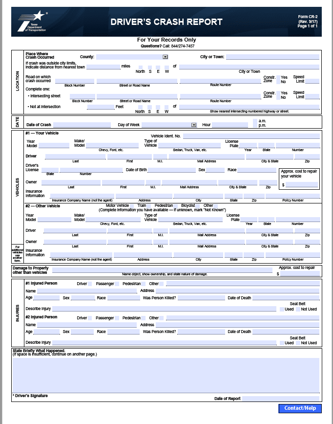 Texas Driver's Crash Report, Driver Crash Report, CR-2 Blue Form